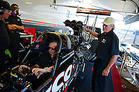 Sept. 22, 2012; Ennis, TX, USA: NHRA crew chief Richard Hogan for top fuel dragster driver Steve Torrence during qualifying for the Fall Nationals at the Texas Motorplex. Mandatory Credit: Mark J. Rebilas-