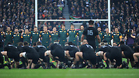 Keven Mealamu of New Zealand leads the Haka ahead of the Semi Final of the Rugby World Cup 2015 between South Africa and New Zealand - 24/10/2015 - Twickenham Stadium, London<br /> Mandatory Credit: Rob Munro/Stewart Communications
