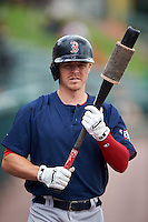Pawtucket Red Sox left fielder Brock Holt (16), on rehab assignment form the Boston Red Sox, warms up before a game against the Rochester Red Wings on June 29, 2016 at Frontier Field in Rochester, New York.  Pawtucket defeated Rochester 3-2.  (Mike Janes/Four Seam Images)