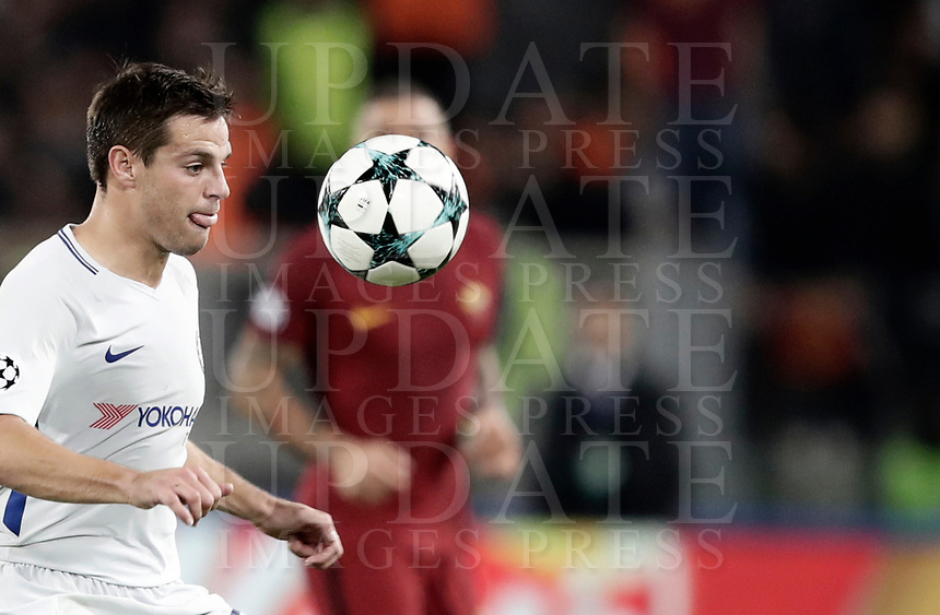 Football Soccer: UEFA Champions League AS Roma vs Chelsea Stadio Olimpico Rome, Italy, October 31, 2017. <br /> Chelsea's Cesar Azpillicueta in action with Roma's during the Uefa Champions League football soccer match between AS Roma and Chelsea at Rome's Olympic stadium, October 31, 2017.<br /> UPDATE IMAGES PRESS/Isabella Bonotto