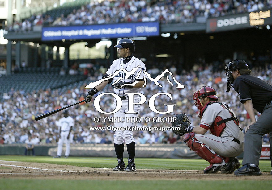 01 August 2007:   Seattle Mariners center fielder Ichiro Suzuki gets set in the batters box against the Los Angeles Angels at Safeco Field. Seattle won 8-7 in 12 innings.