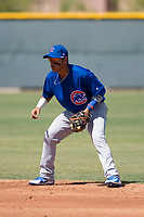 Chicago Cubs second baseman Orian Nunez (18) during an Extended Spring Training game against the Colorado Rockies at Sloan Park on April 17, 2018 in Mesa, Arizona. (Zachary Lucy/Four Seam Images)