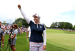 DES MOINES, IA - AUGUST 20: USA's Brittany Lincicome celebrates on the 18th hole the USA's clinching of the Solheim Cup Sunday at the 2017 Solheim Cup in Des Moines, IA. (Photo by Dave Eggen/Inertia)
