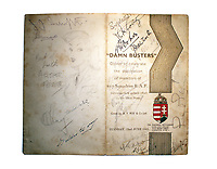 BNPS.co.uk (01202 558833)<br /> Pic: Rascoins/BNPS<br /> <br /> A rare, signed menu for a slap-up dinner for the heroic Dam Busters crew after the famous wartime raid is tipped to sell for £7,500.<br /> <br /> The celebratory meal was held to mark the decorations awarded that day at Buckingham Palace to the survivors of Operation Chastise.<br /> <br /> The do was at the Hungaria Restaurant on London's Regent Street and was attended by crew members including Victoria Cross winner Guy Gibson. <br /> <br /> The men feasted on crab cocktail to start, stuffed duck with minted peas and new potatoes for mains and strawberries in maraschino liquor for dessert.