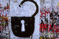 'Unlocked' - graffiti, Berlin Wall west zone.10 November 1989