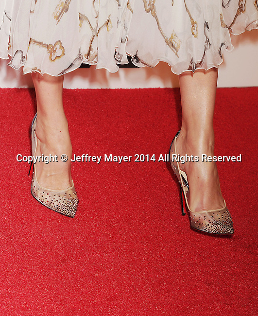 LOS ANGELES, CA- OCTOBER 01: Actress Michelle Monaghan (shoe detail) at The Academy of Motion Picture Arts and Sciences' Hollywood Costume Opening Party at the Wilshire May Company Building on October 1, 2014 in Los Angeles, California.