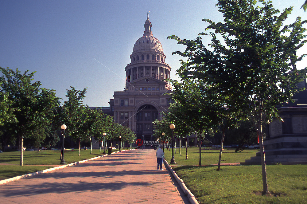 Vintage south view of the Texas State Capitol, home of the Texas legislature in downtown Austin, Texas, May 1990 - Stock Image.