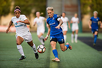 Seattle, WA - Sunday, September 24th, 2017: Desiree Scott , Jess Fishlock during a regular season National Women's Soccer League (NWSL) match between the Seattle Reign FC and FC Kansas City at Memorial Stadium.