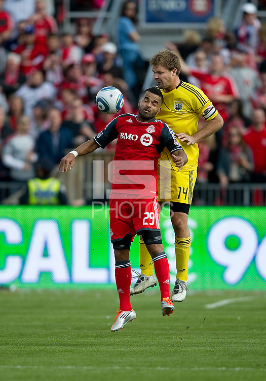 23 April 2011: Toronto FC forward Maicon Santos #29 and Columbus Crew defender Chad Marshall #14 in action during a game between the Columbus Crew and the Toronto FC at BMO Field in Toronto, Ontario Canada..The game ended in a 1-1 draw.