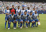 10 June 2007: Honduras' starters pose for a team photo. Front row (l to r): Edgar Alvarez, Oscar Bonieck Garcia, Emil Martinez, Jorge Aaron Claros, Carlos Pavon. Back row (l to r): Amado Guevara, Orlin Vallecilo, Carlos Costly, Maynor Figueroa, Jorge Samuel Caballeros, Emilio Izaguirre. The Honduras Men's National Team defeated the National Team of Mexico 2-1 at Giants Stadium in East Rutherford, New Jersey in a first round game in the 2007 CONCACAF Gold Cup.