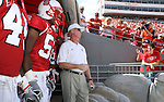 22 September 2007: NC State head coach Tom O'Brien (in white) and his players take the field. The Clemson University Tigers defeated the North Carolina State University Wolfpack 42-20 at Carter-Finley Stadium in Raleigh, North Carolina in an Atlantic Coast Conference NCAA College Football Division I game.