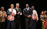 "Francois Battiste, Tug Coker, Larry Bird, Earvin 'Magic' Johnson, Kevin Daniels, Deirdre O'Connell & Fran Kirmser.during the Broadway Opening Night Performance Curtain Call for ""Magic / Bird"" at the Longacre Theatre in New York City on April 11, 2012"