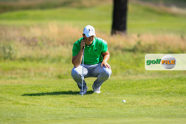 Colm Campbell (Ireland) on the 8th during Day 2 Singles of the Home Internationals at Moortown Golf Club, Leeds, England. 17/08/2017<br /> Picture: Golffile | Thos Caffrey<br /> <br /> All photo usage must carry mandatory copyright credit     (&copy; Golffile | Thos Caffrey)