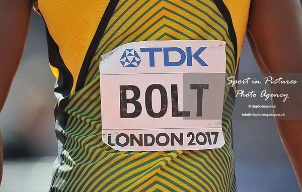Usain Bolt (JAM) in the mens 4 x 100m relay. IAAF world athletics championships. London Olympic stadium. Queen Elizabeth Olympic park. Stratford. London. UK. 12/08/2017. ~ MANDATORY CREDIT Garry Bowden/SIPPA - NO UNAUTHORISED USE - +44 7837 394578