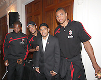 Marcus Diniz, Mancini and Dida of AC Milan with Christian Castillo of DC United at a reception for AC Milan at DAR Constitution Hall in Washington DC on May 24 2010.