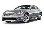 Stock pictures of low aggressive front three quarter view of a 2015 Infiniti Q70 Base 4 Door Sedan Low Aggressive