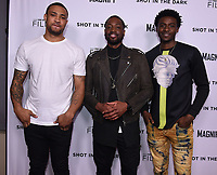 """WEST HOLLYWOOD - FEBRUARY 15: (L-R) Marquise Pryor, Dwayne Wade, and Tyquone Greer arrive for the LA screening of Fox Sports """"Shot in the Dark"""" at the Pacific Design Center on February 15, 2018 in West Hollywood, California.(Photo by Frank Micelotta/Fox/PictureGroup)"""