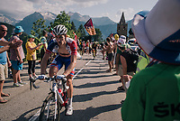 "Arnaud Démare (FRA/Groupama-FDJ) coming through ""Dutch Corner"" (#7) on Alpe d'Huez<br /> <br /> Stage 12: Bourg-Saint-Maurice / Les Arcs > Alpe d'Huez (175km)<br /> <br /> 105th Tour de France 2018<br /> ©kramon"