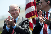 Attorney General Jeff Sessions (L) and Health and Human Services Secretary Alex Azar applaud as President Donald Trump delivers remarks at the 37th Annual National Peace Officers' Memorial Service at the U.S. Capitol Building on May 15, 2018 in Washington, D.C. <br /> Credit: Kevin Dietsch / Pool via CNP
