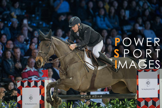 Roger-Yves Bost of France riding Tesway de la Batia during the Hong Kong Jockey Club Trophy competition, part of the Longines Masters of Hong Kong on 10 February 2017 at the Asia World Expo in Hong Kong, China. Photo by Juan Serrano / Power Sport Images