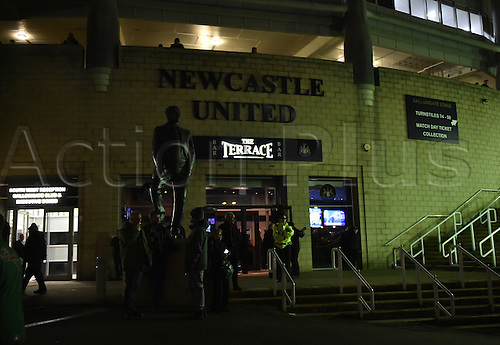 February 20th 2017, St James Park, Newcastle, England; Skybet Championship football, Newcastle versus Aston Villa; Sir Bobby Robson statue outside the terrace