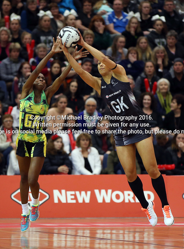 11.09.2016 Silver Ferns Phoenix Karaka and Jamacia's Shanice Beckford in action during the Taini Jamison netball match between the Silver Ferns and Jamaica played at Trafalgar Centre in Nelson. Mandatory Photo Credit ©Michael Bradley.