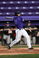 Third baseman Jake Crawford (19) of the Furman Paladins bats in game two of a doubleheader against the Harvard Crimson on Friday, March 16, 2018, at Latham Baseball Stadium on the Furman University campus in Greenville, South Carolina. Furman won, 7-6. (Tom Priddy/Four Seam Images)