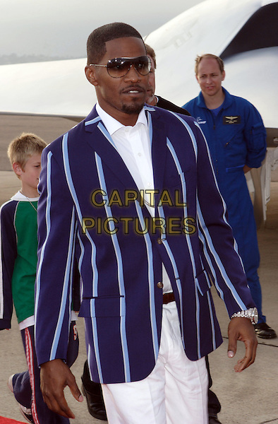 "JAMIE FOXX.World Premiere of Columbia Pictures ""Stealth"".July 17th, 2005.half length blue striped suit jacket sunglasses shades.www.capitalpictures.com.sales@capitalpictures.com.© Capital Pictures."