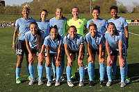 Piscataway, NJ - Sunday April 24, 2016: The starting eleven of the hosts, Sky Blue FC.  The Washington Spirit defeated Sky Blue FC 2-1 during a National Women's Soccer League (NWSL) match at Yurcak Field.