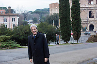 Italian Premier Paolo Gentiloni wposes in front of the Colosseum as he waits for the arrival of French President to visit the Domus Aurea in Rome, January 11, 2018. <br /> UPDATE IMAGES PRESS/Riccardo De Luca<br /> ITALY OUT