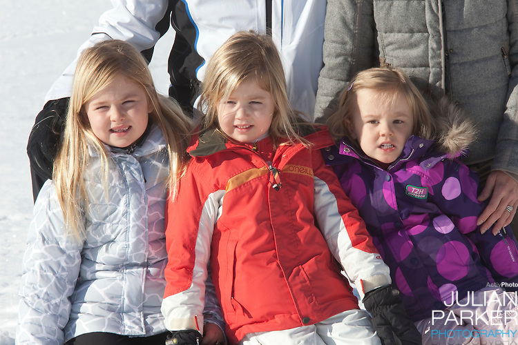 Princess Alexia ( centre ), Princess Catharina Amalia ( left ) and Princess Ariane  of Holland( right ) attend a Photocall with Members of The Dutch Royal Family during their Winter Ski Holiday in Lech Austria