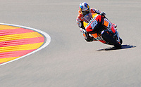 Dani Pedrosa taking a corkscrew during the Grand Prix Aragon 2012