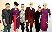 The ceremonial costumes which will be worn by escorts to the 805 medal presentations at the London 2012 Olympic games, the designers are seen with their joint designs Thomas Crisp, Trine Hav Christensen, and Zara Gorman (left to right), at a photocall to launch the stunning outfits in a Studio in Wapping east London. PRESS ASSOCIATION Photo. Picture date: Friday June 1, 2012. See PA story  Photo credit should read: John Stillwell/PA Wire PRESS ASSOCIATION.