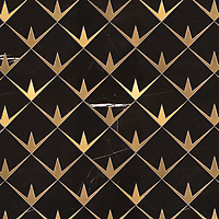 Byron, a waterjet stone mosaic, shown in polished Nero Marquina and brushed Brass, is part of the Bright Young Things™ collection by New Ravenna.