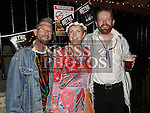 Eimear Davis celebrating her 50th birthday in Sarsfields with friends David Straker and Jeff Nilsen. Photo:Colin Bell/pressphotos.ie
