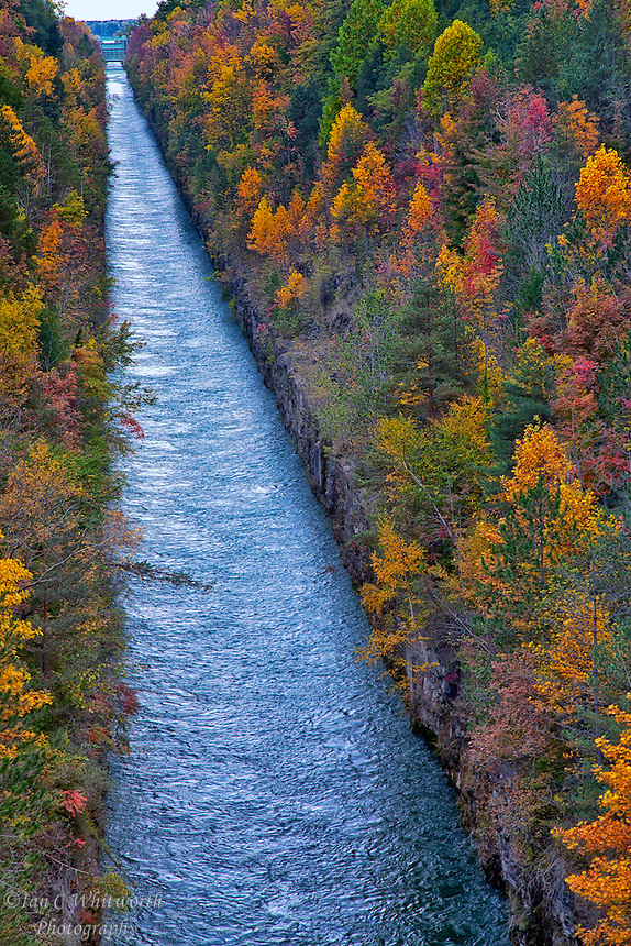 Fall colours surround the hydro canal in Niagara.