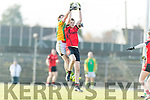 David Hallissey Kenmare in action against Pat Connole Kilfenora in the Munster Intermediate Club Football Championship Semi-Final at Fitzgerald Stadium on Sunday.