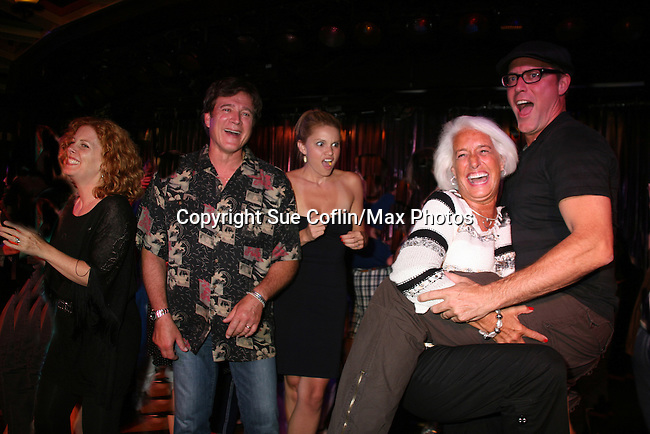 Bobbie Katz (permission slip) dances with Robert Bogue as Liz Keifer, Frank Dicopoulos and Mandy Bruno watch - Welcome Aboard Party- Spend Time with friends and the actors on the dance floor, grooving to disco, hits of today and classic tunes on Day 1 Saturday evening July 31, 2010 - So Long Springfield at Sea - A Final Farewell To Guiding Light sets sail from NYC to St. John, New Brunwsick and Halifax, Nova Scotia from July 31 to August 5, 2010  aboard Carnival's Glory (Photos by Sue Coflin/Max Photos)