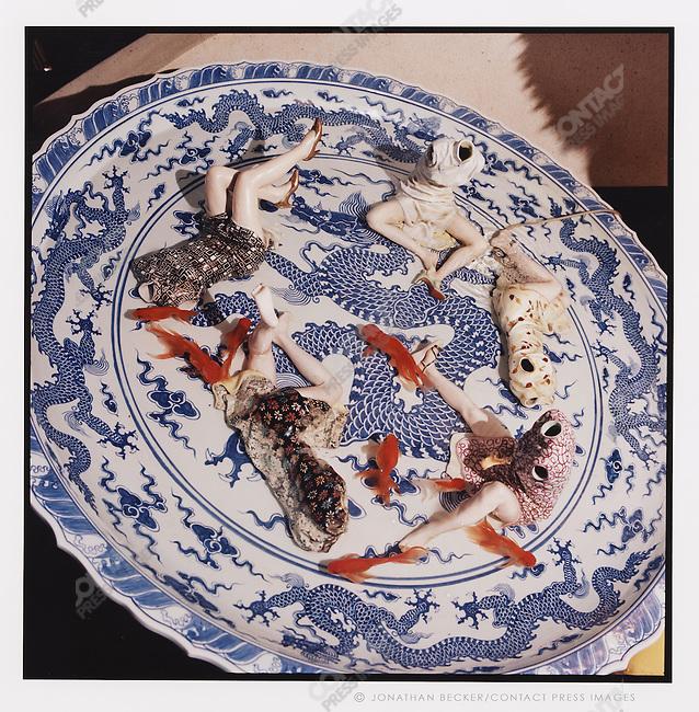 "A work from Liu Jianhua's polychrome ceramic series, ""Game"", China, 2007"