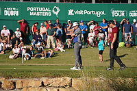 Haydn Porteous (RSA) and Eddie Pepperell (ENG) on the 18th green during Round 3 of the Portugal Masters, Dom Pedro Victoria Golf Course, Vilamoura, Vilamoura, Portugal, 26/10/2019<br /> Picture Andy Crook / Golffile.ie<br /> <br /> All photo usage must carry mandatory copyright credit (© Golffile   Andy Crook)