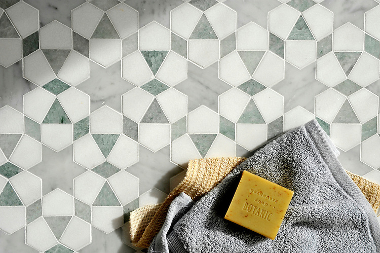 Medina, a handmade mosaic shown in polished Ming Green and Carrara and honed Thassos, is part of the Miraflores collection by Paul Schatz for New Ravenna.