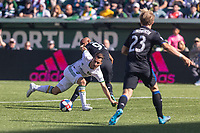 Portland, Oregon - Sunday October 6, 2019: Sebastian Blanco #10 attempts to shoot against Judson #93 and Florian Jungwirth #23 during a regular season match between Portland Timbers and San Jose Earthquakes at Providence Park in Portland, Oregon.