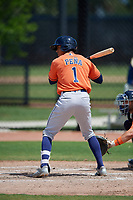Houston Astros shortstop Jeremy Pena (1) bats during a Minor League Spring Training Intrasquad game on March 28, 2019 at the FITTEAM Ballpark of the Palm Beaches in West Palm Beach, Florida.  (Mike Janes/Four Seam Images)