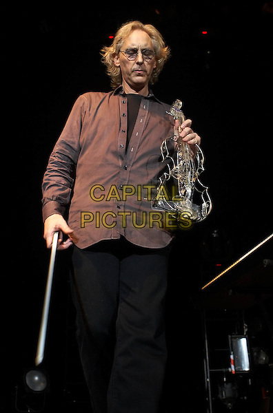 King Crimson Festival, KTU - Eddie Jobson.Concert in Moscow.September 3rd, 2008.on stage in concert live gig performance performing music half 3/4 length black trousers brown shirt tinted glasses violin.CAP/PER/SB.©SB/PersonaStars/CapitalPictures