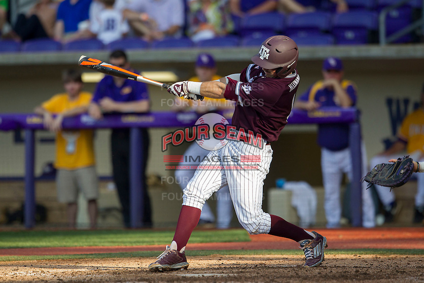 Texas A&M Aggies shortstop Blake Allemand (1) swings the bat during the Southeastern Conference baseball game against the LSU Tigers on April 25, 2015 at Alex Box Stadium in Baton Rouge, Louisiana. Texas A&M defeated LSU 6-2. (Andrew Woolley/Four Seam Images)