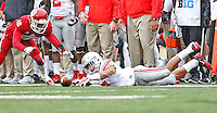 Jalin Marshall loses the ball after a sideline catch and it was recovered by Indiana Hoosiers defensive back Rashard Fant (16) in the second half at Memorial Stadium on October 3, 2015. (Chris Russell/Dispatch Photo)