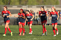 Piscataway, NJ, April 24, 2016.  Ali Krieger (11) of the Washington Spirit and her teammates return to midfield after celebrating Krieger's goal against Sky Blue FC.  The Washington Spirit defeated Sky Blue FC 2-1 during a National Women's Soccer League (NWSL) match at Yurcak Field.