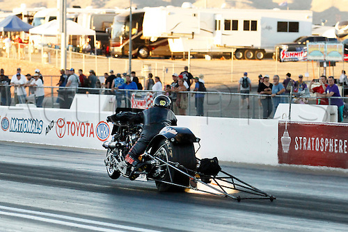 01.04.2016. Las Vegas, Nevada, USA. Top Fuel Nitro Harley drag bike of Mike Pelrine (TFH222) in action during the DENSO Spark Plugs NHRA Nationals at The Strip at Las Vegas Motor Speedway in Las Vegas, NV.