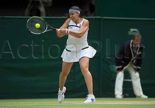 04.07.2013. Wimbledon, London England. Marion Bartoli FRA Ladies semi-finals match between Flipkens and Bartoli, which was won by Bartoli by a score of 6-1 6-2 to reach the finals versus Lisicki.