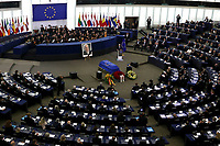 A general view shows heads of States and governments and European Union representatives attend a ceremony for late German Chancellor Helmut Kohl at the European Parliament in Strasbourg, eastern France, on July 1, 2017. Kohl, who oversaw German reunification and was a driving force in Europe's integration, died on June 16 at age of 87.<br /> Foto Elyxandro Cegarra / Panoramic / Insidefoto <br /> ITALY ONLY